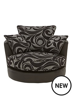 swirl-fabric-and-faux-leather-swivel-chair