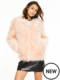 v-by-very-luxe-carved-faux-fur-jacket-pink