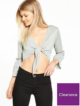 ri-petite-petite-knot-front-crop-top-grey