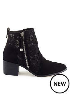 miss-selfridge-black-lace-ankle-boot