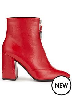 miss-selfridge-crinkle-ankle-boot-red