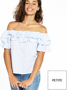 miss-selfridge-petite-stripe-bardot-top