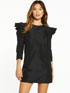 miss-selfridge-miss-selfridge-taffeta-volume-sleeve-dress