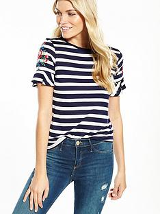 oasis-embroidered-stripe-fluted-sleeve-tee