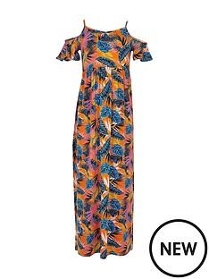 river-island-girls-orange-print-cold-shoulder-maxi-dress