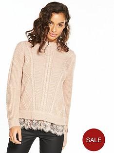 v-by-very-petite-lace-hem-lurex-knit-jumper