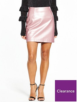 v-by-very-petite-metallic-pu-mini-skirt