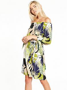 wallis-palm-print-bardot-dress