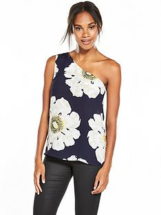 warehouse-melody-floral-one-shoulder-top-navy