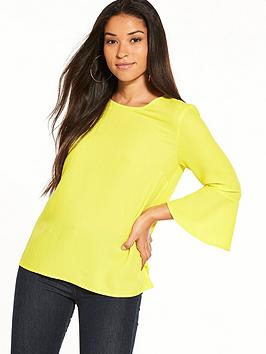 warehouse-fluted-sleeve-crinkle-top
