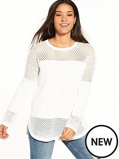 warehouse-mesh-sleeve-longline-jumper-cream