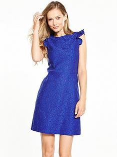 warehouse-frill-sleeve-bonded-lace-dress