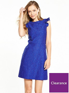 warehouse-frill-sleeve-bonded-lace-dress