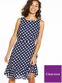 wallis-petitenbspfluted-hem-spot-dress