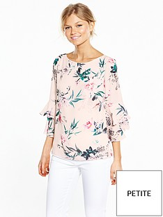 wallis-petite-oriental-double-frill-fluted-sleeve-top