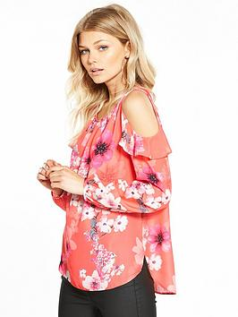 wallis-petite-pressed-pansy-cold-shoulder-double-layer-top