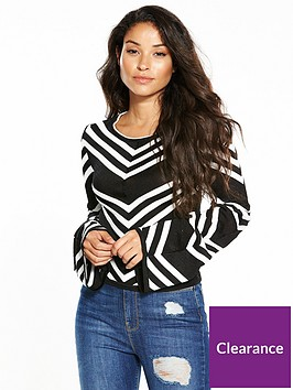 warehouse-monochrome-chevron-crop-jumper