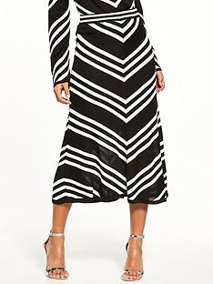 warehouse-chevron-skirt-monochrome