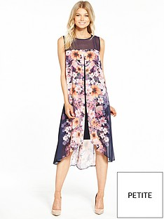 wallis-petite-pressed-pansy-split-front-dress