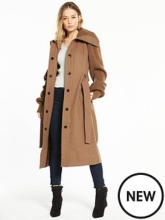 v-by-very-knit-sleeve-long-coat-camel