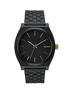 nixon-nixon-time-teller-black-dial-gold-accents-black-bracelet-mens-watch
