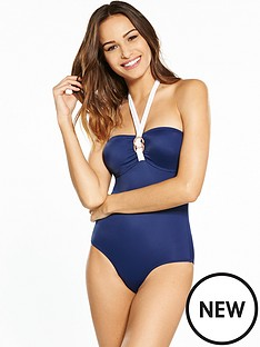 dorina-fiji-bandeau-rose-gold-detail-swimsuit-navy