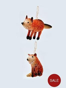 gisela-graham-bristle-fox-hanging-christmas-tree-decorations-2-pack
