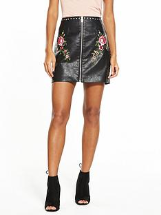 v-by-very-stud-embroidered-pu-skirt
