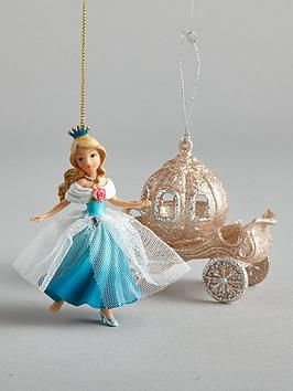 gisela-graham-cinderella-and-carriage-hanging-christmas-tree-decorations-2-pack