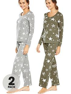 v-by-very-2-pack-stars-print-long-sleeve-pj-greykhaki