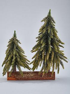 gisela-graham-green-glitter-double-fir-tree-christmas-ornament