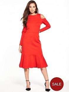 closet-cold-shoulder-long-sleeve-dress