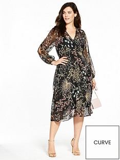 v-by-very-curve-lurex-print-split-sleeve-midi-dress