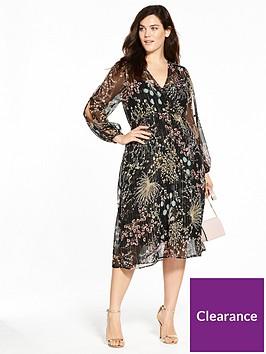 v-by-very-curve-lurex-print-split-sleeve-midi-dress