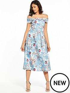 bardot-floral-midi-dress