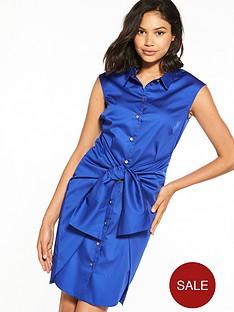 closet-nbspcloset-tie-waist-shirt-dress-blue