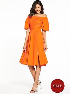 closet-nbspcloset-off-shoulder-bardot-dress-orange