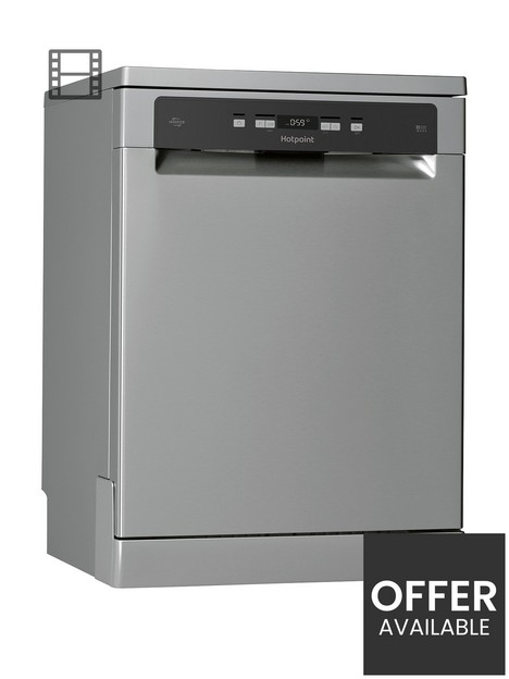 hotpoint-hfc3c26wcx-uk-full-size-14-place-dishwasher-with-quick-wash-and-3d-zone-wash-silver