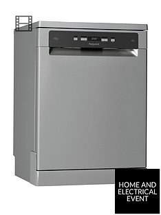 hotpoint-hfc3c26wsv-full-size-14-place-dishwasher-with-quick-wash-and-3d-zone-wash-silver