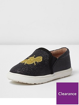 river-island-river-island-mini-girls-glitter-bee-plimsoll