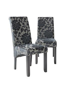 Very Pair Of Oxford Fabric Dining Chairs - Black Picture