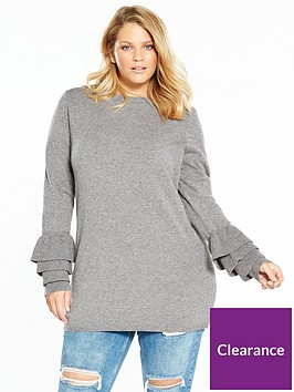 v-by-very-curve-fluted-sleeve-knitted-jumper-grey