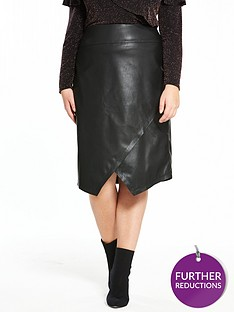 v-by-very-curve-pu-asymmetric-skirt-black