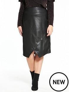 v-by-very-curve-pu-asymmetric-skirt-black