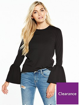 v-by-very-jersey-fluted-sleeve-top
