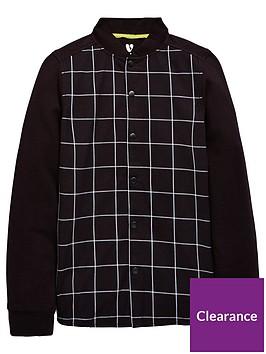 v-by-very-boys-sweat-mix-check-shirt-black