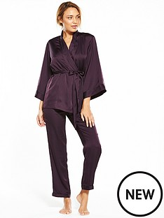 v-by-very-short-sleeve-kimono-satin-pyjama-set