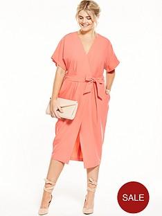 closet-curve-wrap-dress-with-tie-coral