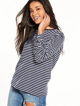 warehouse-ruched-long-sleeve-top