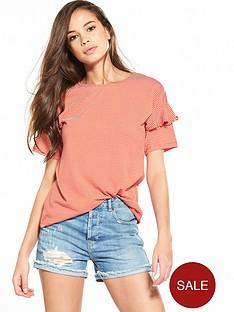 warehouse-frill-sleeve-stripe-t-shirt-redwhite